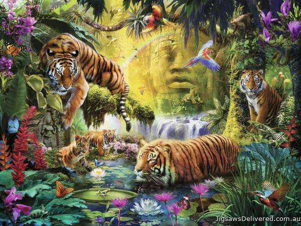 Tranquil Tigers (RB16005-1), a 1500 piece jigsaw puzzle by Ravensburger.