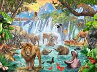 Waterfall Safari (RB16461-5), a 1500 piece jigsaw puzzle by Ravensburger. Click to view this jigsaw puzzle.