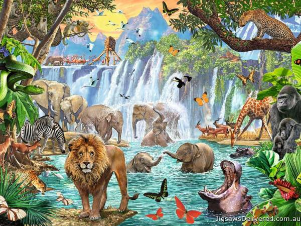 Waterfall Safari (RB16461-5), a 1500 piece jigsaw puzzle by Ravensburger.