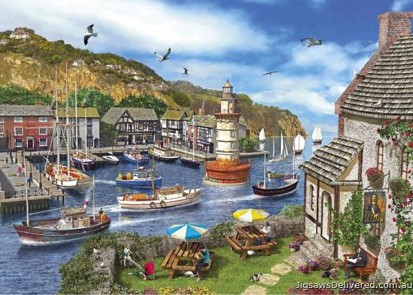 Lighthouse Bay (GIB062854), a 1000 piece jigsaw puzzle by Gibsons.