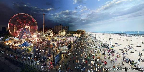Coney Island, New York (Day to Night) (CLE 10006), a 1000 piece jigsaw puzzle by 4D Cityscape.