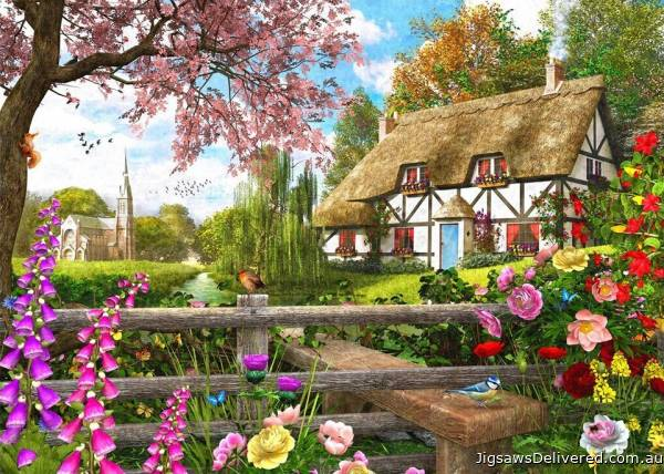 Country Cottage Way (Picture Perfect) (HOL772247), a 1000 piece jigsaw puzzle by Holdson.