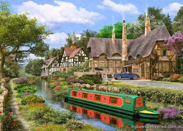 Cottage Canal (Picture Perfect) (HOL772230), a 1000 piece jigsaw puzzle by Holdson.
