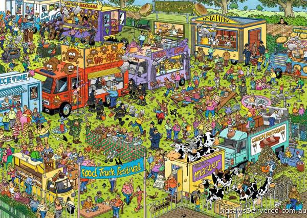 Food Truck Festival (HOL772346), a 1000 piece jigsaw puzzle by Holdson.