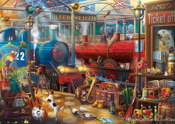 Mysterious Train Station (EDU18481), a 500 piece jigsaw puzzle by Educa.