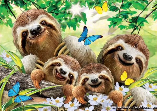 Sloth Family Selfie (EDU18450), a 500 piece jigsaw puzzle by Educa.