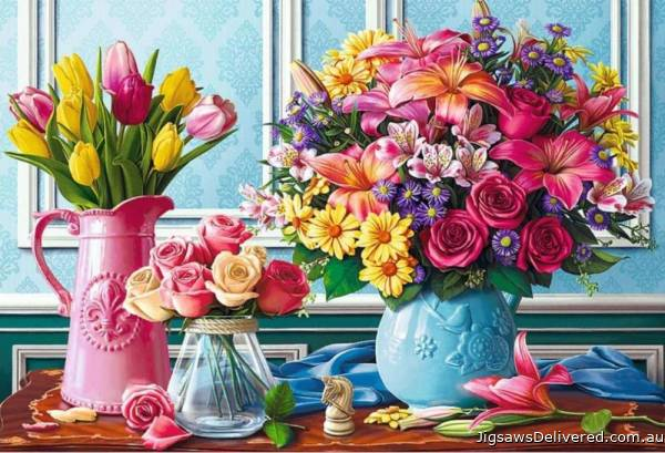 Flowers in Vases (TRE26157), a 1500 piece jigsaw puzzle by Trefl.
