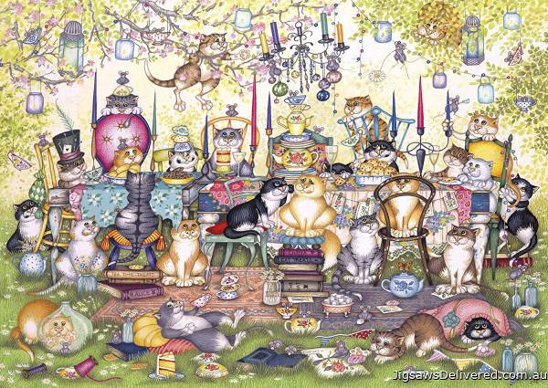 Mad Catter's Tea Party (Large Pieces) (GIB027174), a 250 piece jigsaw puzzle by Gibsons.