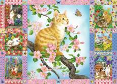 Blossoms and Kittens Quilt (COB80272), a 1000 piece Cobble Hill jigsaw puzzle.
