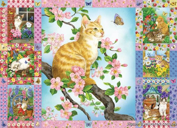 Blossoms and Kittens Quilt (COB80272), a 1000 piece jigsaw puzzle by Cobble Hill.