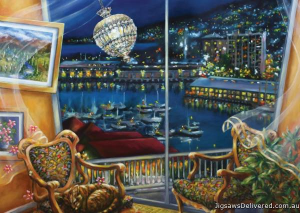 Night Breeze, Hobart (BL02109-C), a 1000 piece jigsaw puzzle by Blue Opal.