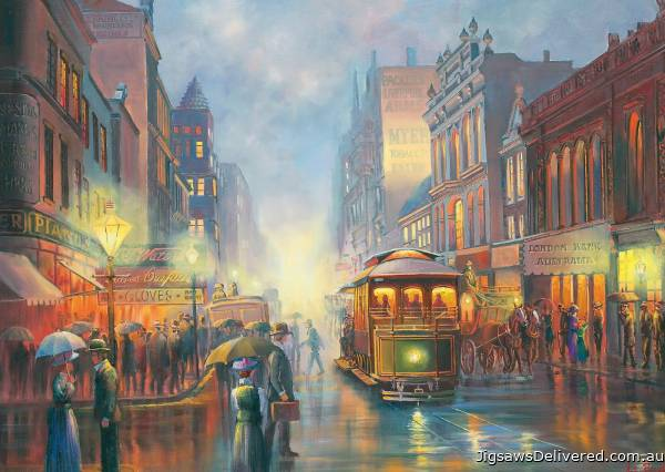 Trams in Gaslight (BL02106-C), a 1000 piece jigsaw puzzle by Blue Opal.