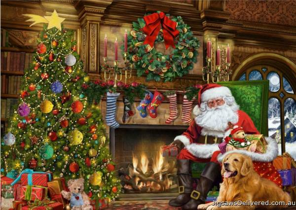 Santa by the Fireplace (JUM11311), a 500 piece jigsaw puzzle by Jumbo.