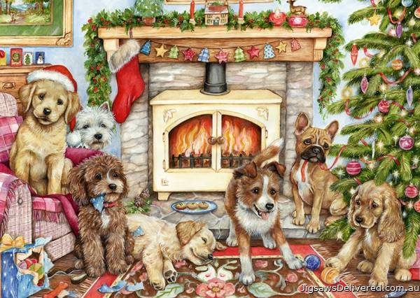Christmas Puppies (JUM11310), a 500 piece jigsaw puzzle by Jumbo.