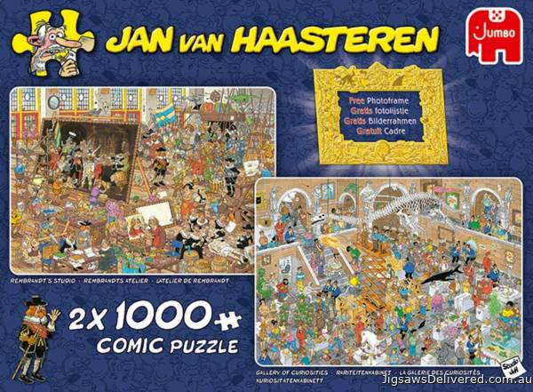 A Day at the Museum (2 x 1000pc) (JUM20032), a 1000 piece jigsaw puzzle by Jumbo.