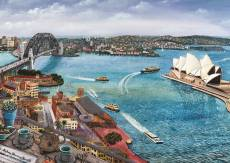 Tea and Papers, Sydney Harbour (BL02157-C), a 1000 piece Blue Opal jigsaw puzzle.