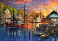 Harbour Sunset (Safe Harbour) (HOL772759), a 1000 piece jigsaw puzzle by HoldsonArtist Dominic Davison. Click to view this jigsaw puzzle.