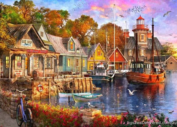 The Harbour Evening (Safe Harbour) (HOL772759), a 1000 piece jigsaw puzzle by Holdson.