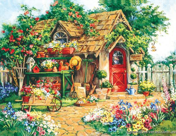 Gardener's Haven (Large Pieces) (SUN31354), a 1000 piece jigsaw puzzle by Sunsout.