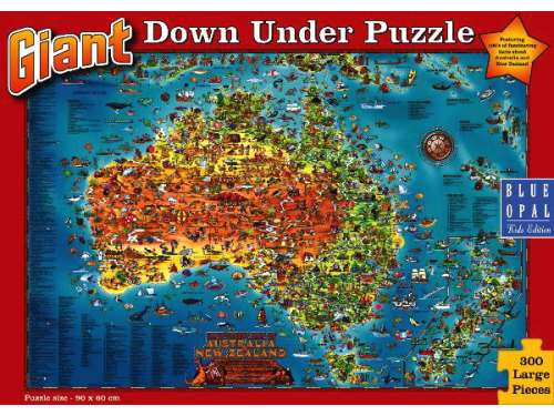 Giant Down Under Australian Map Puzzle (BL01880), a 300 piece jigsaw puzzle by Blue Opal. Click to view larger image.