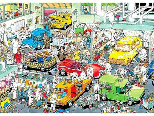In The Respray Shop (JUM17281), a 500 piece jigsaw puzzle by Jumbo. Click to view larger image.