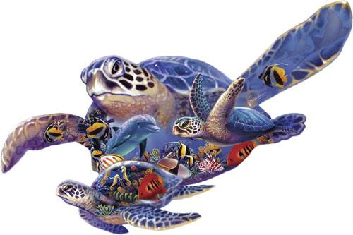 Swimming Lesson (Shaped Puzzle) (SUN90289), a 1000 piece jigsaw puzzle by Sunsout.