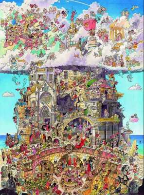 Heaven and Hell (HEY29118), a 1500 piece jigsaw puzzle by HEYE. Click to view larger image.