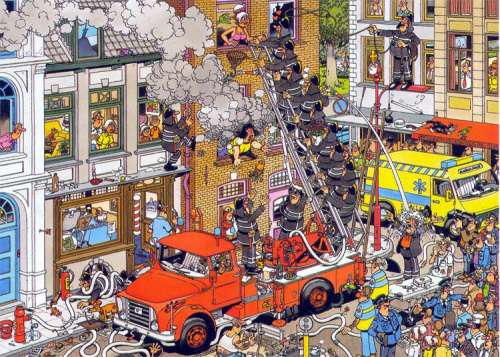 Fire! (JUM17279), a 500 piece jigsaw puzzle by Jumbo. Click to view larger image.