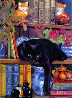 On The Shelf (Cat) (SUNCL59367), a 1000 piece jigsaw puzzle by Sunsout. Click to view larger image.