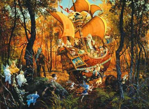 Flight of the Fablemaker (SUNCN67512), a 1500 piece jigsaw puzzle by Sunsout. Click to view larger image.
