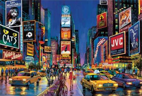 Times Square, New York (Glow in the Dark) (EDU13047), a 1000 piece jigsaw puzzle by Educa. Click to view larger image.