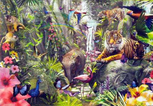 Asian Rainforest (SUN62042), a 1000 piece jigsaw puzzle by Sunsout. Click to view larger image.