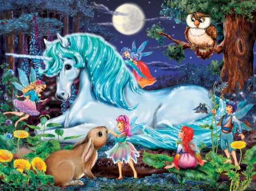 Unicorn World (Enchanted Forest) (RB10793-3), a 100 piece jigsaw puzzle by Ravensburger. Click to view larger image.