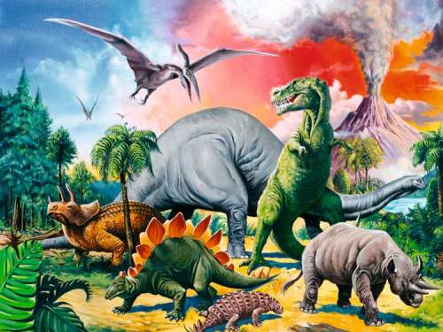 Among the Dinosaurs (RB10957-9), a 100 piece jigsaw puzzle by Ravensburger. Click to view larger image.