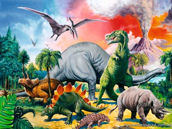 Among the Dinosaurs (RB10957-9), a 100 piece jigsaw puzzle by Ravensburger.