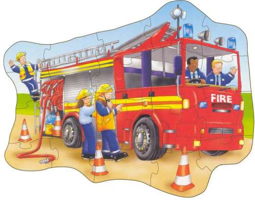 Big Fire Engine (Shaped Giant Floor Puzzle) (OC258), a 20 piece jigsaw puzzle by Orchard Toys. Click to view larger image.