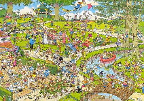The Park (1000pc) (JUM01492), a 1000 piece jigsaw puzzle by Jumbo. Click to view larger image.