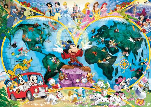 Disney's World Map (RB15785-3), a 1000 piece jigsaw puzzle by Ravensburger. Click to view larger image.