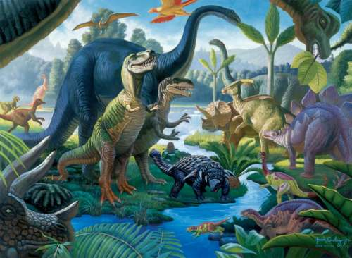 Land of the Giants (Dinosaurs) (RB10740-7), a 100 piece jigsaw puzzle by Ravensburger. Click to view larger image.