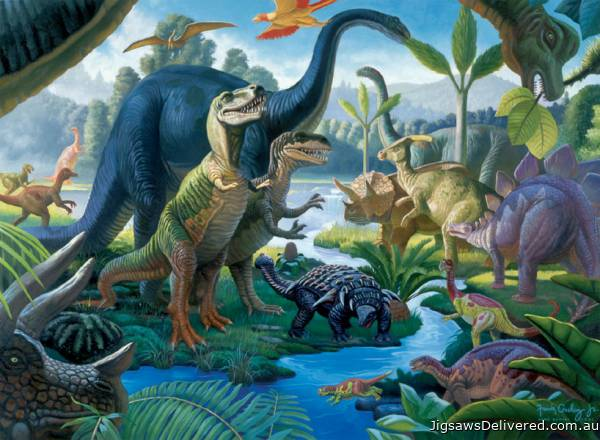 Land of the Giants (Dinosaurs) (RB10740-7), a 100 piece jigsaw puzzle by Ravensburger.