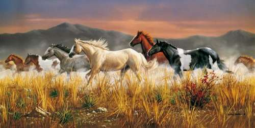Band of Thunder (Horses) (CLE 38006), a 13200 piece jigsaw puzzle by Clementoni. Click to view larger image.