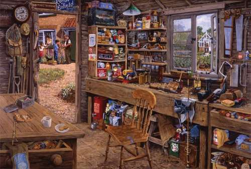 Dad's Shed (Large Pieces) (RB14859-2), a 500 piece jigsaw puzzle by Ravensburger. Click to view larger image.