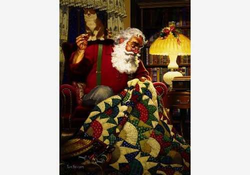 Quilting Santa (SUN23328), a 1000 piece jigsaw puzzle by Sunsout. Click to view larger image.