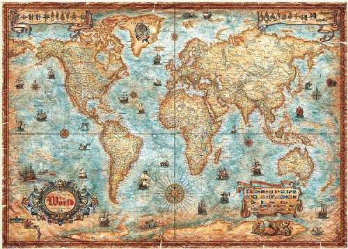 Map of The World (Modern borders, Historical styling) (HEY29275), a 3000 piece jigsaw puzzle by HEYE. Click to view larger image.