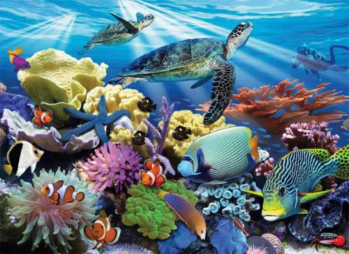 Ocean Turtles (RB12608-8), a 200 piece jigsaw puzzle by Ravensburger. Click to view larger image.