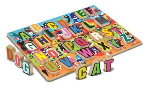 Jumbo ABC Chunky Alphabet (Wooden) (MND3833), a 26 piece jigsaw puzzle by Melissa and Doug. Click to view larger image.
