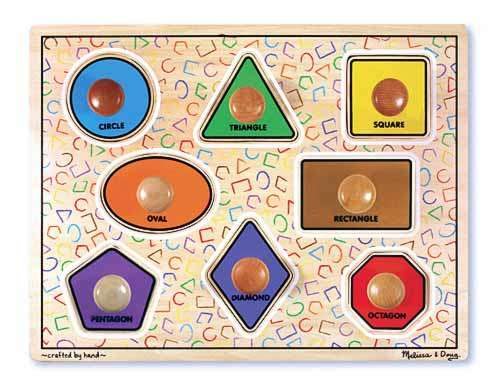 Large Shapes (Wooden Knob Puzzle) (MND3390), a 8 piece jigsaw puzzle by Melissa and Doug. Click to view larger image.
