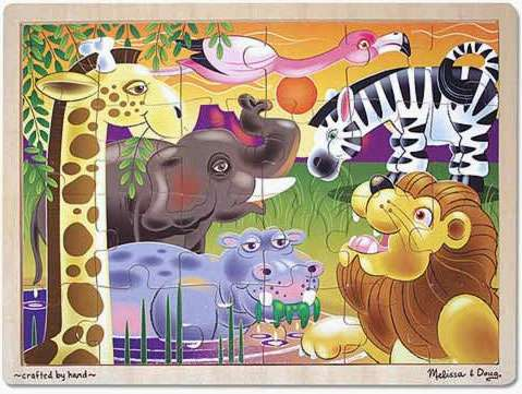 African Plains (Wooden Puzzle) (MND2937), a 24 piece jigsaw puzzle by Melissa and Doug. Click to view larger image.