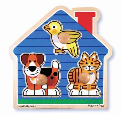 House Pets (Wooden Knob Puzzle) (MND2055), a 3 piece jigsaw puzzle by Melissa and Doug. Click to view larger image.
