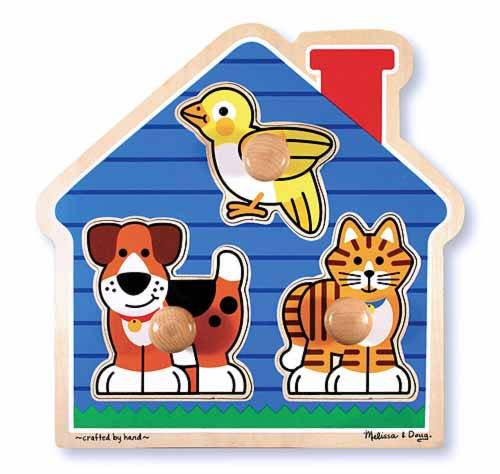 House Pets (Wooden Knob Puzzle) (MND2055), a 3 piece jigsaw puzzle by Melissa and Doug.